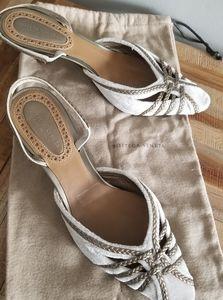 Bottega Veneta braided leather velvet  slingbacks